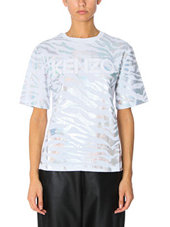 Kenzo-T-Shirt Tiger Stripes in cotone bianco iridescente
