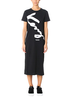 Kenzo-Vestito Signature in cotone nero