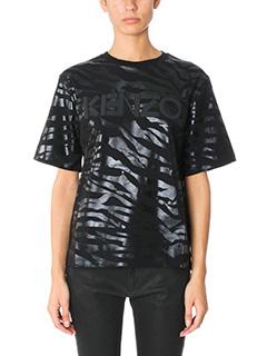Kenzo-T-Shirt Tiger Stripes in cotone nero iridescente