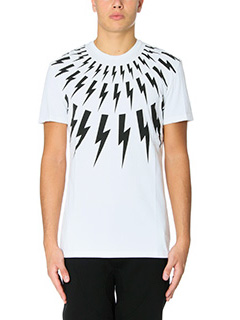 Neil Barrett-T-Shirt Lightning Bolt  in cotone bianco nero