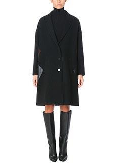 Neil Barrett-Cappotto in lana e pelle nera