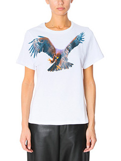Neil Barrett-T-Shirt Bird Print in cotone bianco