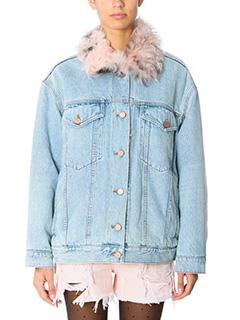 Alexander Wang-Giacca Denim Jacket in denim azzurro e shearling rosa