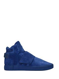 Adidas-Sneakers Tubular Invader Strap in suede blue