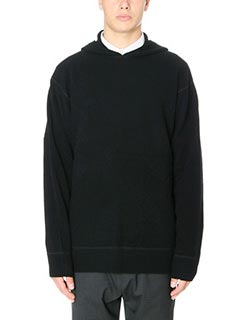 Alexander Wang-Maglia Hoodie Pullover in lana nera