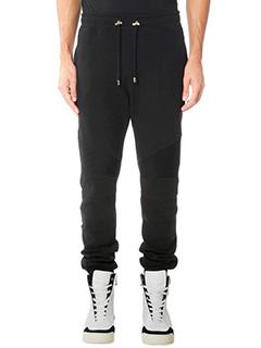Balmain-Pantaloni in fepa di cotone nero