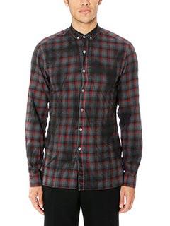 Lanvin-Camicia Slim Fit Shirt in lana fantasia check rosso nero