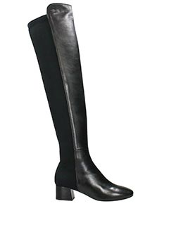 Julie Dee-black leather and tissue boots