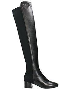 Julie Dee-Stivali in pelle e tessuto nero