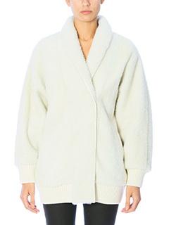 Drome-Giacca in pelliccia di agnello bianca