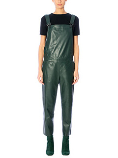 Drome-green leather suit