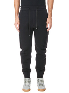 Helmut Lang-Pantaloni Curved  Leg Cargo in cotone nero
