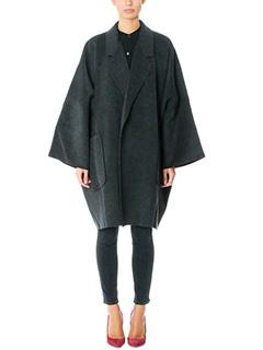 Helmut Lang-Cappotto Cape Double in lana e cashmere grigio antracite