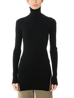 Helmut Lang-Fitted turtle black wool knitwear