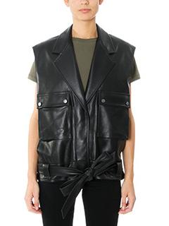 Helmut Lang-Gilet Oversize Leather in pelle nera