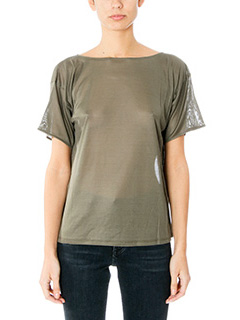 Helmut Lang-T-Shirt Silk Boxy in satin verde