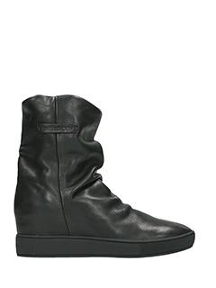 Crime-Sneakers Slip On wedges in pelle nera