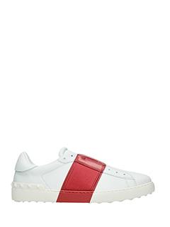 Valentino-Sneakers Low Stripe in pelle bianca rossa