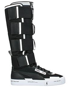 Puma-Stivali Court Play Slip  in pelle e nylon nero