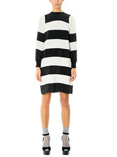 Marc Jacobs-Vestito Wide T-Shirt Dress  in seta bianca nera
