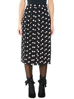 Marc Jacobs-Gonna Pleated Skirt in seta nera bianca