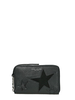 Marc Jacobs-Zip Phone  black leather wallet