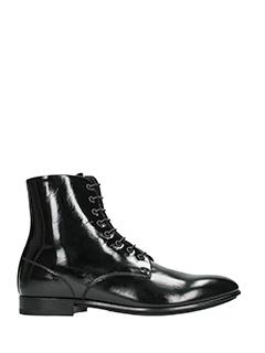 Raparo-black leather combat boots