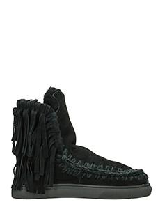 Mou-Stivali Mini Eskimo Sneaker con frange  in shearling nero