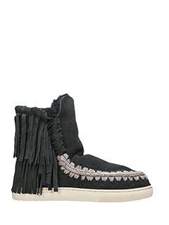 Mou-Stivali Mini Eskimo Sneaker con frange  in shearling antracite