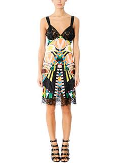 Givenchy-Vestito in seta multicolor e pizzo nero