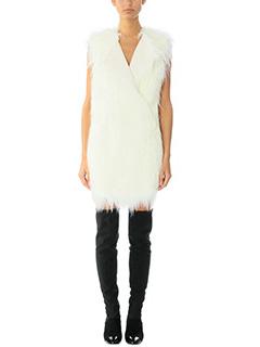 Theory-Gilet Nyma in lana e eco pelliccia bianca