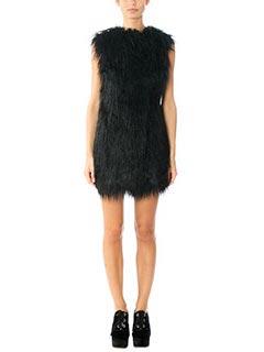 Theory-Gilet Nyma in lana e eco pelliccia nera