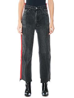 Vetements-Jeans Red Stripes in denim nero