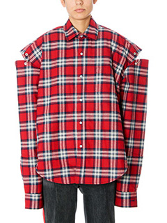 Vetements-Camicia Flanelle Over in lana check rossa
