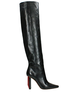 Vetements-Stivali Reflector Heel Knee High in pelle nera