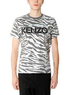 Kenzo-T-Shirt Tiger Stripes in cotone grigio iridescente