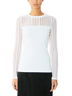 T by Alexander Wang-Maglia Stretch Cotton in jersey bianco