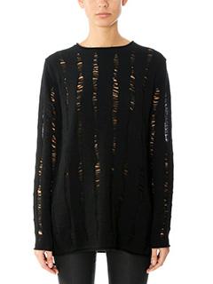 T by Alexander Wang-Maglia Merino Jersey in lana nera