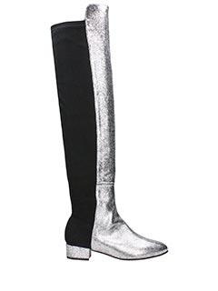Marc Ellis-Stivali in camoscio nero e pelle argento