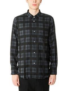 Golden Goose Deluxe Brand-Camicia Logan Shirt in flanella nera blue