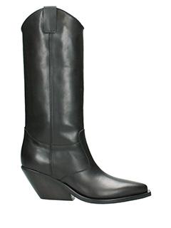 Gaia d/'este-black leather boots