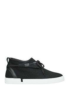 Casbia-Sneakers William in tessuto rete e pelle nera