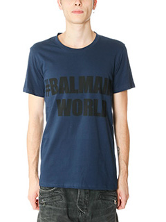Balmain-T-Shirt Balmain World in cotone blue