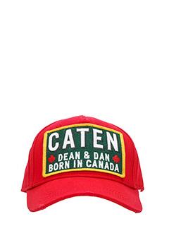 Dsquared 2-Cappello Caten in cotone rosso