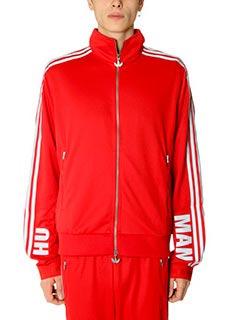 Adidas-Felpa Hr Track Top Adidas for Pharrell in  tessuto tecnico rosso