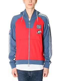 Adidas-Felpa Adidas For Pharrell in cotone blue rosso