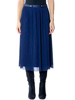Kenzo-Pleated Midi  blue cotton skirt