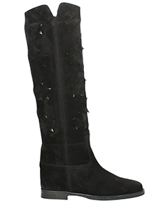 Via Roma 15-black suede boots
