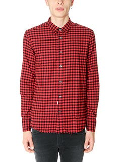 Department Five-Camicia in flanella di lana check nera rossa