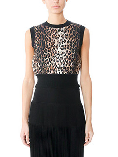 Givenchy-Top in lana nera ed animalier